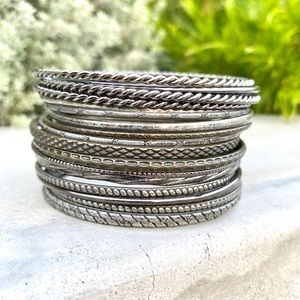 22 bangle bracelets vintage silver bands metal set